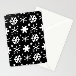 Snowflakes Black Stationery Cards