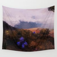 fireflies Wall Tapestries featuring Fireflies at Dusk by blinkdoge