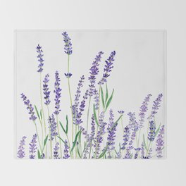 lavender watercolor horizontal Throw Blanket