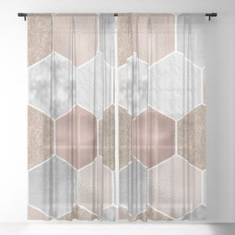 Gentle rose gold and marble hexagons Sheer Curtain
