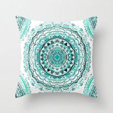 Supernova-In Teal, Aqua, & Mint Throw Pillow