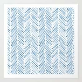 Baby blue watercolor herringbone  Art Print