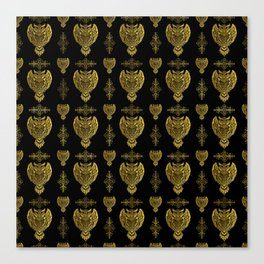 Gold Tribal Owl Pattern Canvas Print