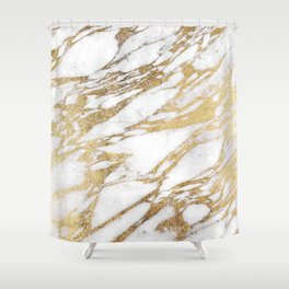Chic Elegant White and Gold Marble Pattern Shower Curtain