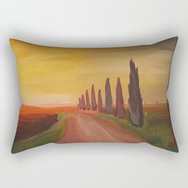 Tuscany Alley Way with Cypress at Dusk Rectangular Pillow