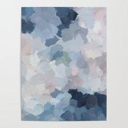 Navy Indigo Gray Blue Blush Pink Lavender Abstract Floral Spring Wall Art Poster
