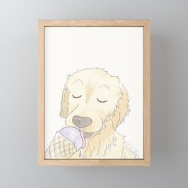 Labrador Dog and Lavender Ice-Cream Love Framed Mini Art Print