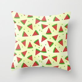 Watermelons and Peas Throw Pillow