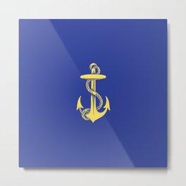 Modern royal blue sunshine yellow nautical anchor Metal Print