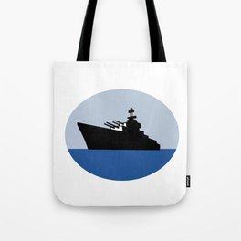 World War Two Battleship Destroyer Oval Retro Tote Bag