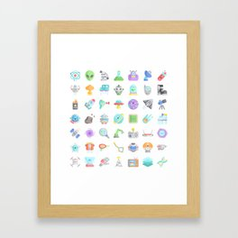 CUTE SCIENCE / SPACE / SCI-FI PATTERN Framed Art Print