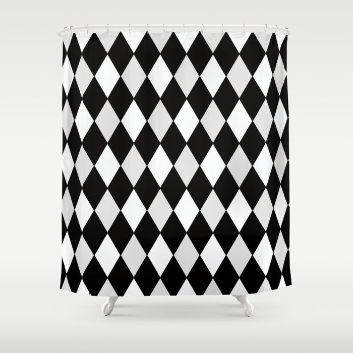 Harlequin Black and White and Gray Shower Curtain