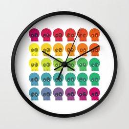 Rainbow Skullz Wall Clock