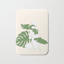Woman with Monstera Leaves Bath Mat