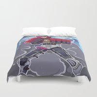 league Duvet Covers featuring League of Legends: Vi by Arnix