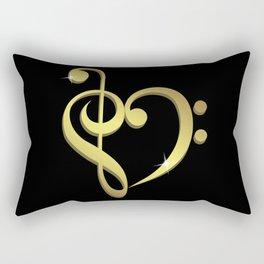 Treble clef, bass clef music heart love Rectangular Pillow