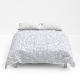 Light Gray Ethnic Eclectic Detailed Mandala Minimal Minimalistic Comforters
