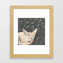 Fennec Fox Feather Dreams in Green & Grey Framed Art Print