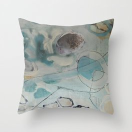 still waters - mixed media ocean collage in modern fresh colors mint, teal, cream, white, and gold Throw Pillow
