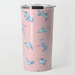 Origami on Pink Travel Mug