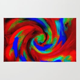 Red Blue Green Fireball Sky Explosion Rug