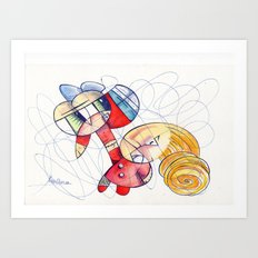 Don´t panic babe! I´m comming to rescue you ;) Art Print