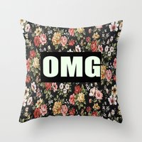 clueless Throw Pillows featuring OMG by Crimson and Clover Studio