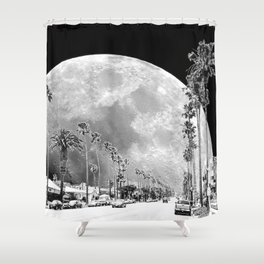 California Dream // Moon Black and White Palm Tree Fantasy Art Print Shower Curtain