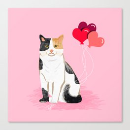 Calico Cat love heart balloons cat lady cat gifts cat person must have Canvas Print