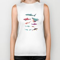 sharks Biker Tanks featuring Sharks by Simon Alenius