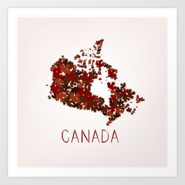 Maple Leafs Map of Canada Art Print