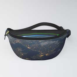 Northern Lights over Scandinavia at Night from Orbit of Earth Fanny Pack