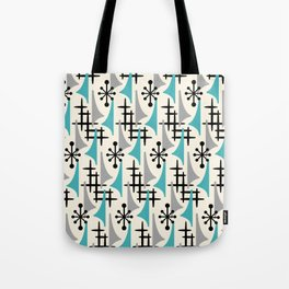 Mid Century Modern Atomic Wing Composition Blue & Grey Tote Bag