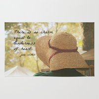 jane austen Area & Throw Rugs featuring There is No Charm Jane Austen  quote by KimberosePhotography