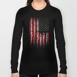 Red & white American flag on Navy ink Long Sleeve T-shirt