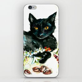 Coffee, Orchid and Black Cat Vintage Style Large Format XXL iPhone Skin