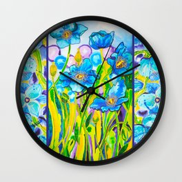 Blue Poppies 2 with Border Wall Clock