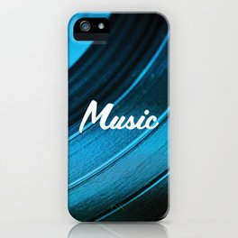 Music on Record. (Blue) iPhone Case