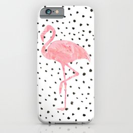 Flamingo Art print, Pink, Glam, Dalmatian, Tropical Art iPhone Case