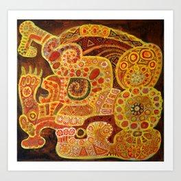 Mayan Skull Glyph Art Print