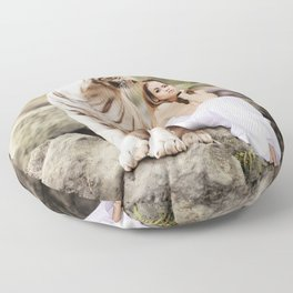 White Tiger from Bengal | Tigre blanc du Bengale Floor Pillow