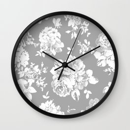 Gothic White Roses Wall Clock