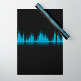 Cool Blue Graphic Equalizer Music on black Wrapping Paper