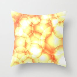 Gentle intersecting golden translucent circles in pastel colors with glow. Throw Pillow