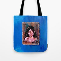 surrealism Tote Bags featuring Surrealism by Crystal Lea Art