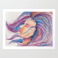 Girl with the Rainbow Hair Art Print