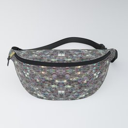 Sparkly colourful silver mosaic mandala Fanny Pack