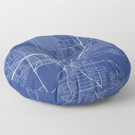 Des Moines Map, USA - Blue Floor Pillow
