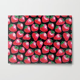 Red Strawberry pattern on black Illustration Metal Print