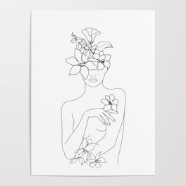 Minimal Line Art Woman with Flowers IV Poster